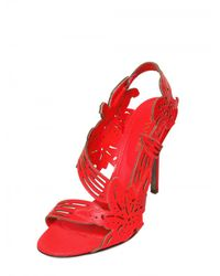 Sergio Rossi | Red 105mm Fluro Leather Flower Sandals | Lyst