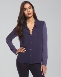 Splendid - Blue Collared Button-down Top - Lyst