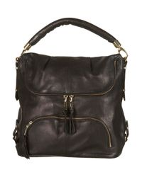 TOPSHOP - Black Leather Zip Slouch Bag - Lyst