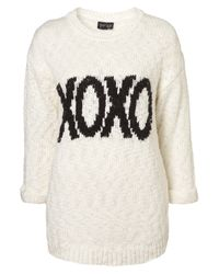 TOPSHOP - Natural Knitted Xoxo Motif Jumper - Lyst