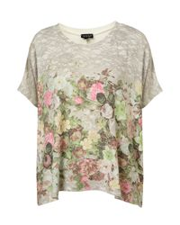 TOPSHOP - Gray Floral Border Tee - Lyst