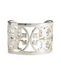 Tory Burch | Metallic Curved Logo Bracelet | Lyst