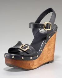 Tory Burch | Black Tatum Ankle-strap Clog Wedge | Lyst