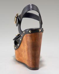 Tory Burch - Black Tatum Ankle-strap Clog Wedge - Lyst