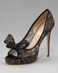 Valentino   Black Couture Lace Platform Pump   Lyst