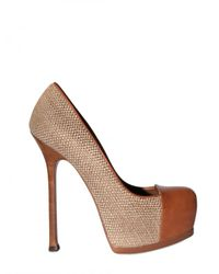 Saint Laurent - Brown 140mm Tribtoo Woven Linen & Leather Pump - Lyst