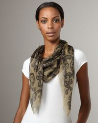 Alexander McQueen | Green Lace-Print Skull Scarf, Army | Lyst