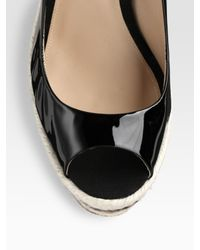 Brian Atwood - Black Alysha Patent Leather Espadrille Wedge Pumps - Lyst