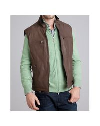 Brunello Cucinelli   Brown Chocolate Leather and Wool Reversible Down Filled Vest for Men   Lyst
