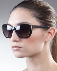 Fendi | Sleek Logo-arm Sunglasses, Black | Lyst