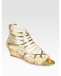 Jimmy Choo | Hedda Metallic Leather Gladiator Wedge Sandals | Lyst