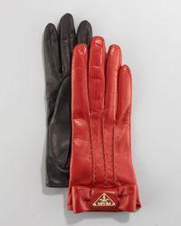 Prada | Black Leather Bow Gloves | Lyst
