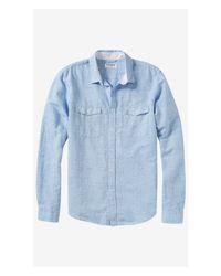 Express Blue Linen-cotton Two Pocket Shirt for men