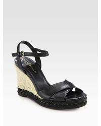 Cole Haan   Black Air Camila Leather Espadrille Wedge Sandals   Lyst