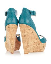 MICHAEL Michael Kors - Blue Ariana Ostrich-Effect Leather Wedge Sandals - Lyst