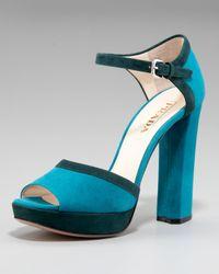 Prada | Blue Bi-color Suede Sandal | Lyst