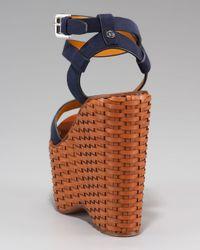 Ralph Lauren | Blue Erala Wicker Wedge Sandal | Lyst