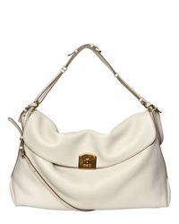 Sergio Rossi | White Viva Soft Grainyed Leather Shoulder Bag | Lyst