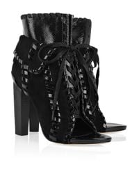 Alexander Wang - Black Freja Suede and Patent-leather Boots - Lyst