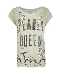AllSaints White Embellished Pearly Queen Crown T-shirt