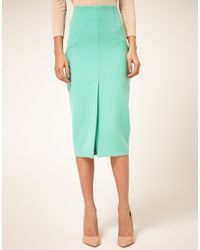 ASOS Collection - Green Asos Pencil Skirt with Split Front - Lyst