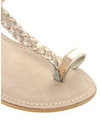 ASOS Metallic Asos Freida Flat Sandals with Woven Toe Loop