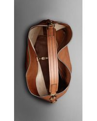 Burberry | Brown Large Washed Leather Duffle Bag for Men | Lyst