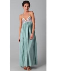 Mara Hoffman | Blue Embroidered Halter Maxi Dress | Lyst