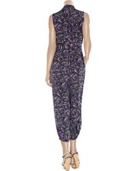 Marc By Marc Jacobs Blue Arielle Printed Silk Jumpsuit