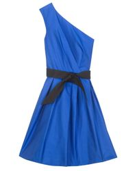 Martin Grant - Blue One Shoulder Belted Dress - Lyst