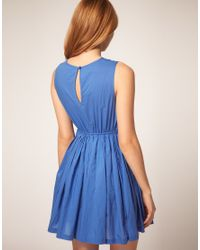 ASOS Collection - Blue Summer Dress with Pleated Lace Bodice - Lyst