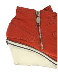Ash Red Genial Bis Buckle Low Wedge Trainers