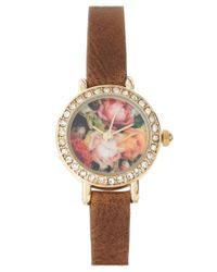 River Island | Brown Watch With Floral Face | Lyst