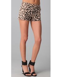 Tibi Multicolor Cheetah On Cotton Stretch Sateen Short