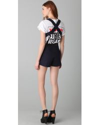 Opening Ceremony Blue Zip Off Overall Shorts