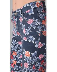 Citizens of Humanity Blue Mandy Floral Roll Up Jeans