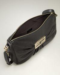 Fendi - Large Black Leather Messenger Bag - Lyst