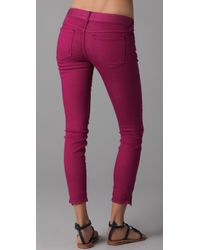 Free People Pink Ankle Zipper Skinny Jeans