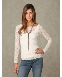 Free People | Pink Scandalous Lace Top | Lyst