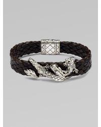 John Hardy | Black Silver Dragon & Leather Bracelet/brown for Men | Lyst