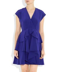 Miu Miu | Purple Tiered Silk Crepe De Chine Dress | Lyst