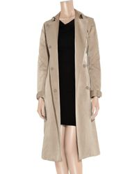Prabal Gurung Natural Belted Silk-satin Trench Coat
