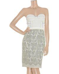 Proenza Schouler - Gray Cotton-blend and Mesh Strapless Dress - Lyst