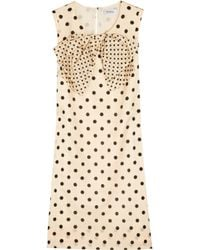 Sonia by Sonia Rykiel | Natural Polka Dot Dress with Bow | Lyst