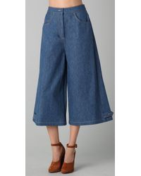 Sonia Rykiel Blue Cropped Wide Leg Denim Pants
