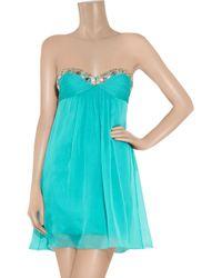 Temperley London - Blue Mini Marcia Embellished Silk-chiffon Dress - Lyst