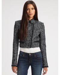 Theory - Blue Myleen Cropped Tweed Jacket - Lyst