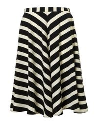 TOPSHOP Black Stripe Full Circle Skirt
