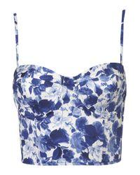 TOPSHOP Blue Porcelain Flower Print Corset