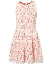 TOPSHOP - Pink Lace Racer Cute Skirted Dress - Lyst